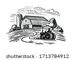 farm theme with trees and...   Shutterstock .eps vector #1713784912