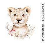 Africa Watercolor Savanna Lion...