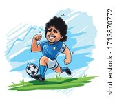 maradona cartoon running with... | Shutterstock .eps vector #1713870772