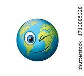 earth emoji   happy winking... | Shutterstock .eps vector #1713885328
