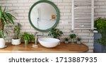 Interior Of Bathroom With Brick ...