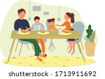 the family has breakfast at the ... | Shutterstock .eps vector #1713911692