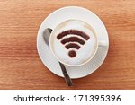free wifi area sign on a latte... | Shutterstock . vector #171395396