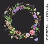 vintage watercolor summer... | Shutterstock . vector #1714013182
