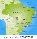 map of brazil ith soccer... | Shutterstock . vector #171407552