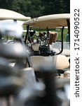 golf carts with bags of clubs... | Shutterstock . vector #1714090522
