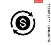 black round money transfer icon ... | Shutterstock .eps vector #1714105882