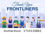 thank you frontliners concept.... | Shutterstock .eps vector #1714110862