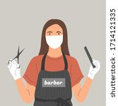 a barber in a face mask and... | Shutterstock .eps vector #1714121335
