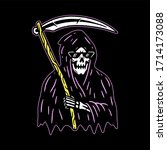 grim reaper with scythe color... | Shutterstock . vector #1714173088