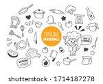 cooking kawaii doodle vector... | Shutterstock .eps vector #1714187278