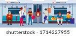 public transport passengers.... | Shutterstock .eps vector #1714227955