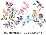 Romantic Watercolor Flowers On...