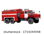 Fire Truck Isolated On White...