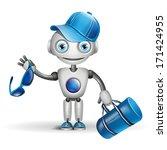 vector cute robot sportsman | Shutterstock .eps vector #171424955