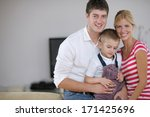 happy young family with kids in ... | Shutterstock . vector #171425696