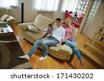 happy young family with kids in ... | Shutterstock . vector #171430202