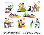 trendy homes studio at woman...   Shutterstock .eps vector #1714326922