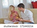 happy young couple eat fresh... | Shutterstock . vector #171443216