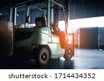 Interior Of Warehouse  Forklift ...