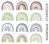 set of isolated pastel rainbows ... | Shutterstock .eps vector #1714452115