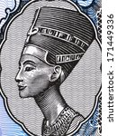 Small photo of EGYPT - CIRCA 1998: Queen Nefertiti (1370-1330 BC) on 5 Piastres 1998 Banknote from Egypt. Great Royal Wife of the Egyptian Pharaoh Akhenaten.