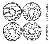 donuts with icing. coloring... | Shutterstock .eps vector #1714493362