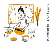 young woman cooking in the... | Shutterstock .eps vector #1714521148