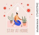young girl looks after indoor...   Shutterstock .eps vector #1714537942