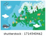 the world map with cartoon... | Shutterstock .eps vector #1714540462