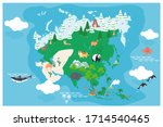 the world map with cartoon... | Shutterstock .eps vector #1714540465