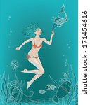 underwater swimmer with fish... | Shutterstock .eps vector #171454616
