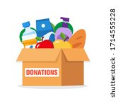 charity donation box with food  ... | Shutterstock .eps vector #1714555228