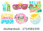 hello summer  sun and fun ...   Shutterstock . vector #1714581535