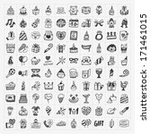 doodle birthday party icons | Shutterstock .eps vector #171461015