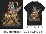 mexican art. mariachi skeleton...   Shutterstock .eps vector #1714624795