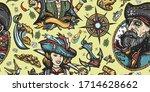 pirate seamless pattern.... | Shutterstock .eps vector #1714628662