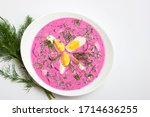 Small photo of Cold borscht (beet soup). This soup probably originated in the Lithuania. In the summertime, cold borscht is a popular alternative to the aforementioned variants cream, buttermilk, soured milk, kefir