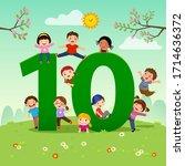 flashcard for kindergarten and... | Shutterstock .eps vector #1714636372