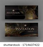 elegant golden banners with... | Shutterstock .eps vector #1714637422