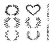 floral vector hand drawn frames.... | Shutterstock .eps vector #1714642702