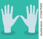 medical gloves on flat bottom | Shutterstock .eps vector #1714679305