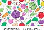 hand drawn cute seamless... | Shutterstock .eps vector #1714681918