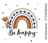 poster be happy with rainbow...   Shutterstock .eps vector #1714698262
