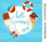 hello summer lettering... | Shutterstock .eps vector #1714714732