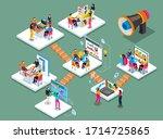 teamwork on a new project.... | Shutterstock .eps vector #1714725865