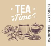 sketch tea. hand drawn objects... | Shutterstock .eps vector #1714735348