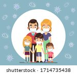 family face masks. parents and... | Shutterstock .eps vector #1714735438