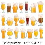glass of beer vector cartoon... | Shutterstock .eps vector #1714763158