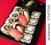 sushi mix in a plastic tray   Shutterstock . vector #171477242